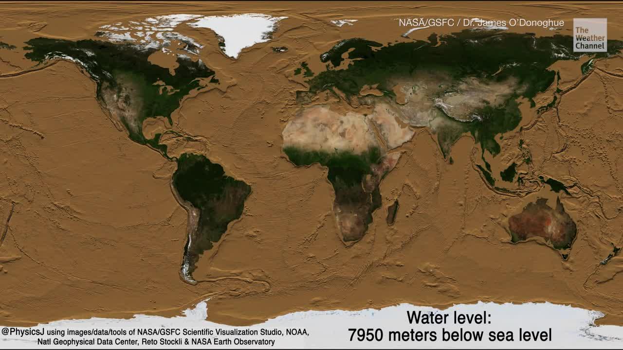 Der Planetologe James O'Donoghue nutzte Daten und Simulation von der Nasa, um ein Video zu erstellen, das eine Erde ohne Ozeane zeigt. In einer Simulation senkt der Forscher den Meeresspiegel, um den Meeresboden zu erkennen. Ab 6000 Meter gibt es keine Ozeane mehr.