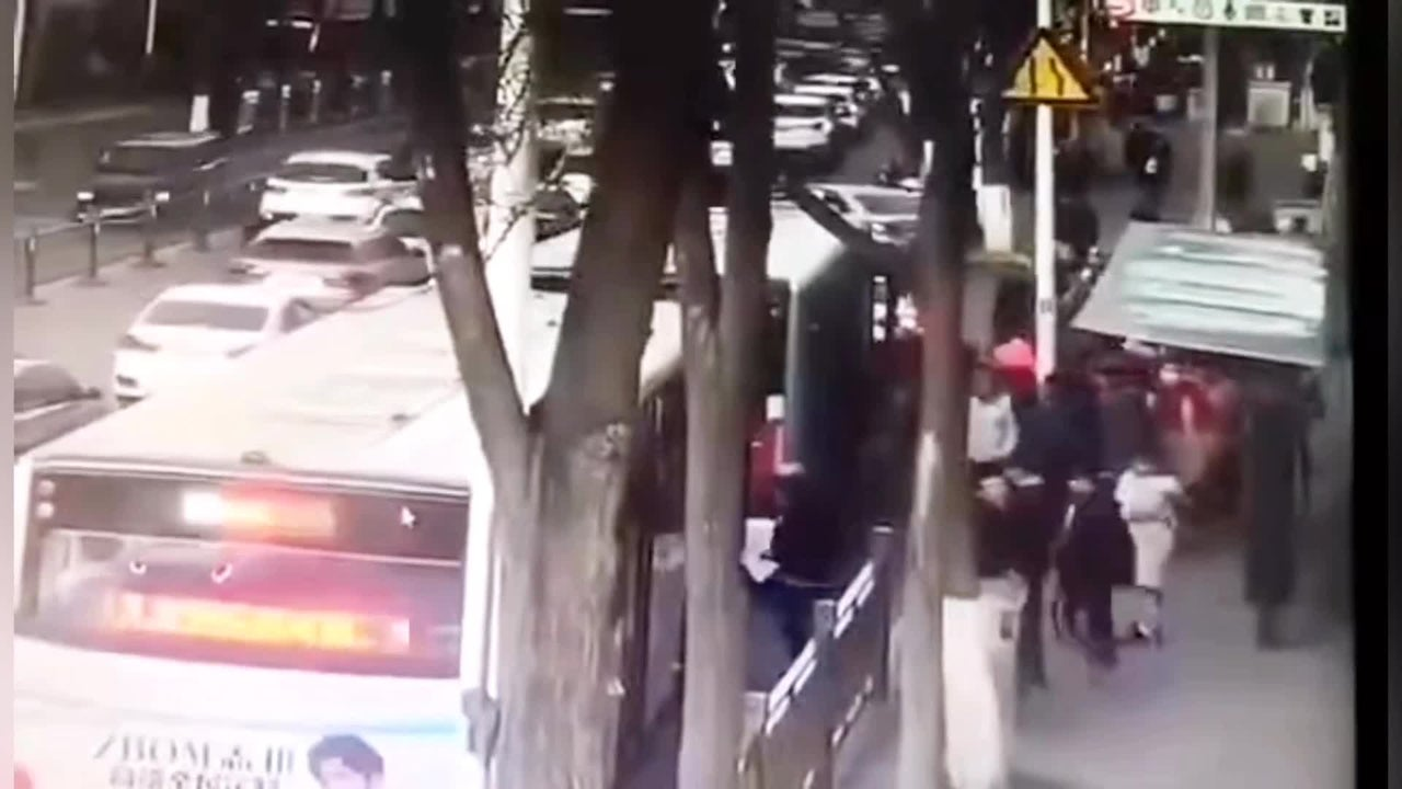 Sinkhole Swallows Bus in China as Passengers Boarded