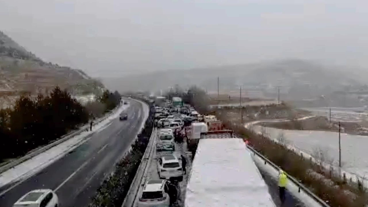 Snow and ice on a highway in Central China caused a massive pileup.
