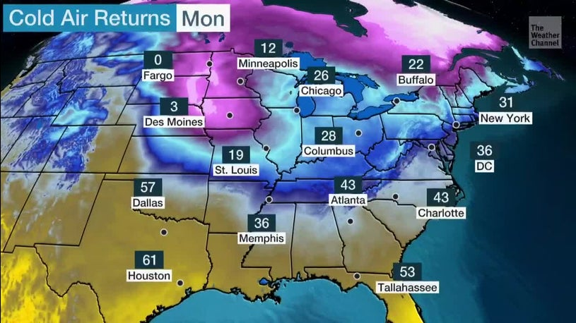 Winter Temperatures Returning to East, South