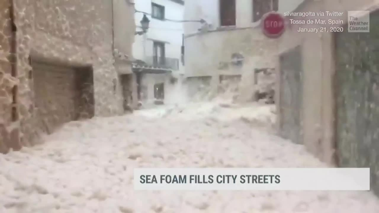 Sea Foam Fills City Streets in Spain as Powerful Waves Slam Ashore