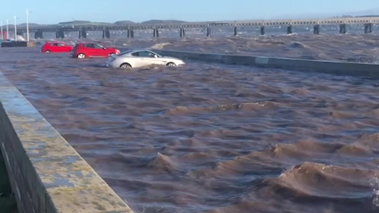 Storm Leaves Cars Submerged