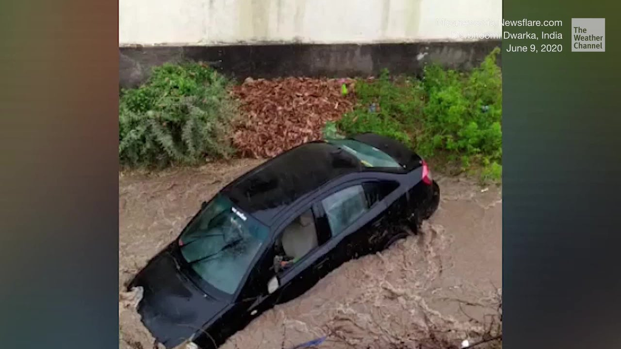 Powerful Flash Flooding Flips Car in India