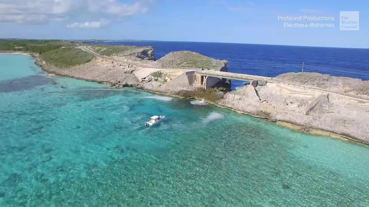 "The Glass Window Bridge on the Bahamas island of Eleuthera is dubbed the ""narrowest place on Earth."""