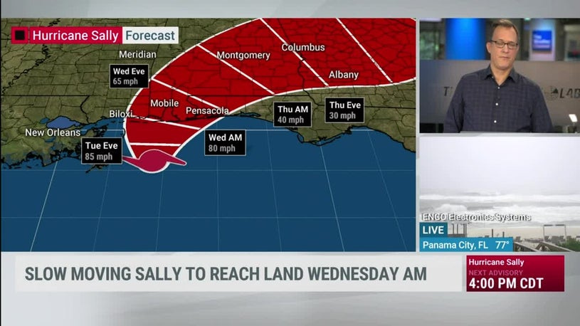 Sally Latest: Eastward Trend Continues