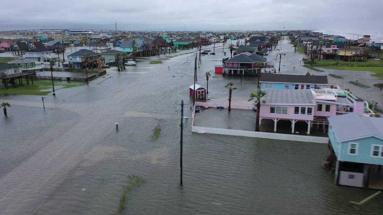 Drone View: Damage Left by Hurricane Nicholas