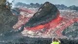 Watch: Gigantic Boulders Float Away on Lava