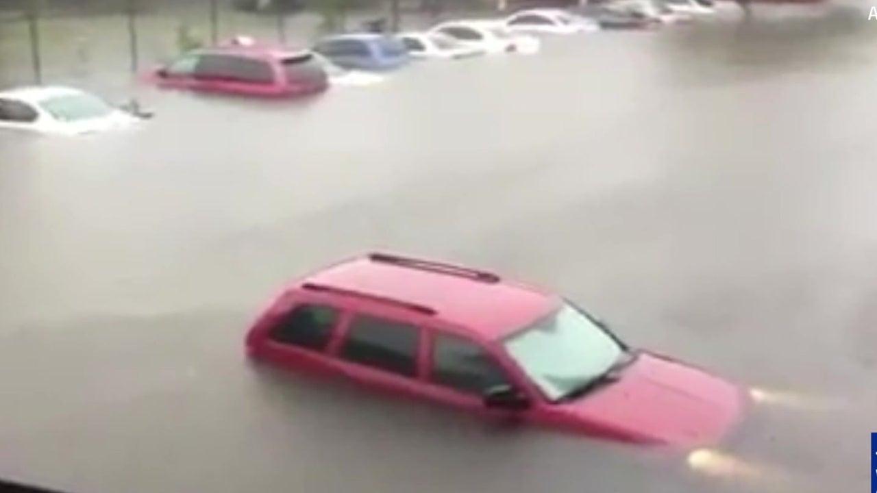 Texas Flooding Submerges Vehicles