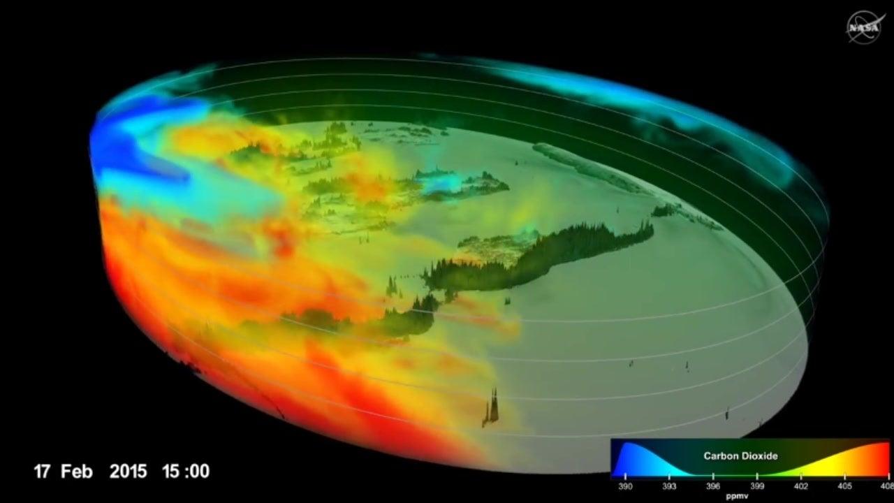 Animation zeigt Kohlendioxid in der Atmosphäre