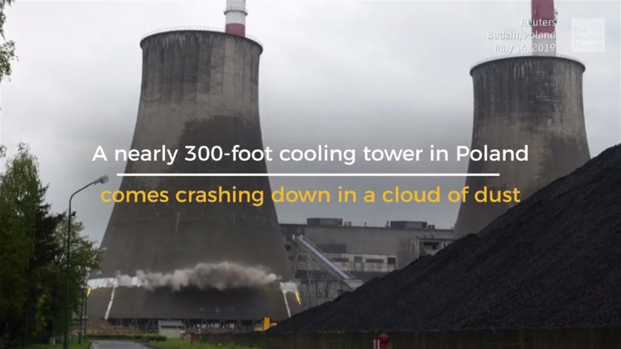A nearly 300-foot cooling tower in Poland comes crashing down in a controlled demolition, and it's oh-so-satisfying to watch.