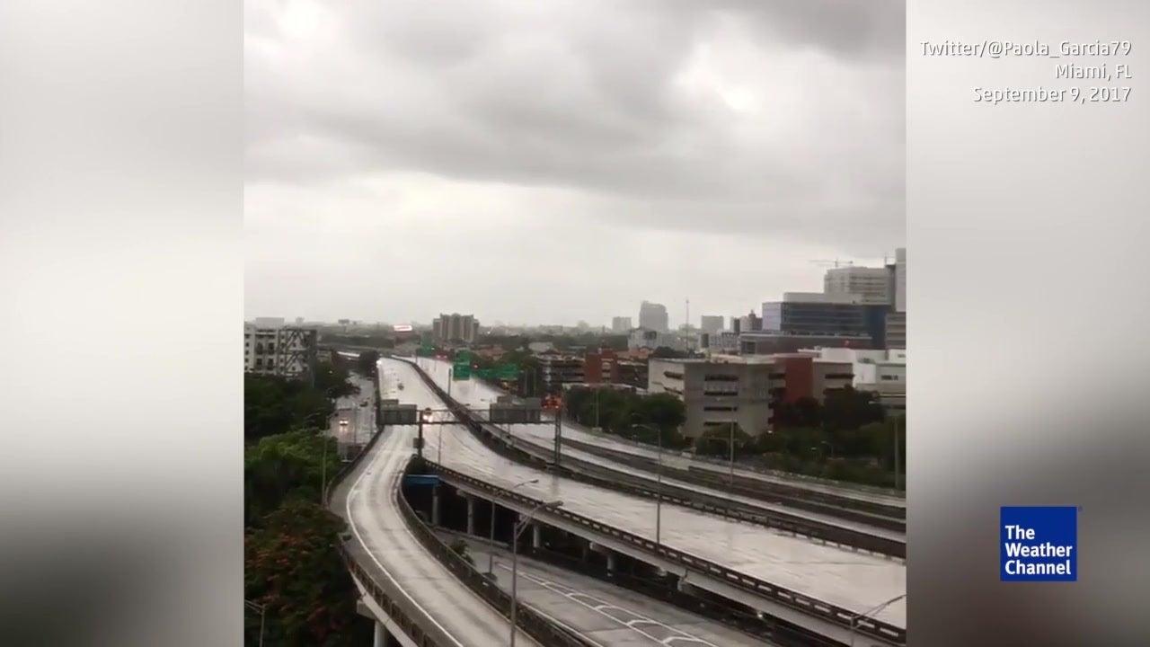 Roads completely empty in Miami, Florida