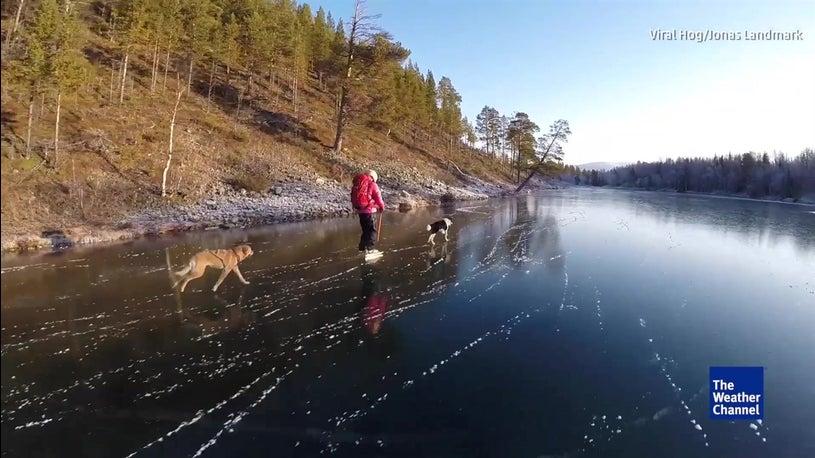 Ice skating on a stunning Swedish lake