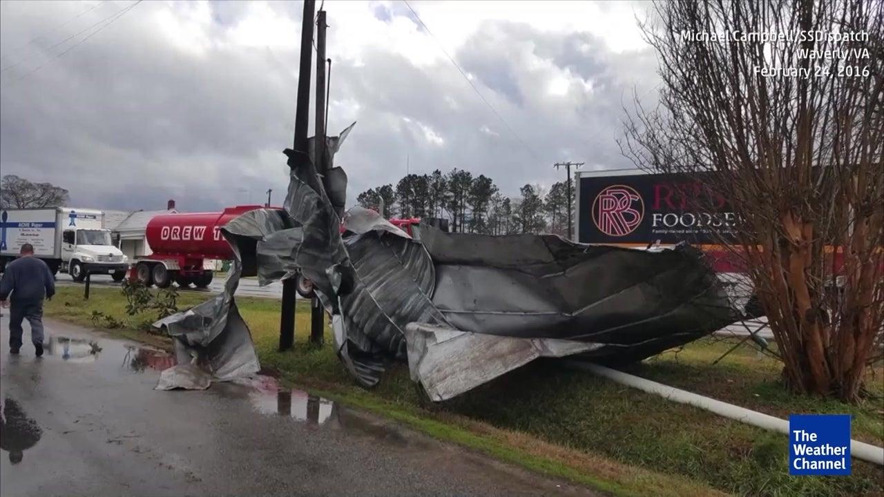 Three dead after tornado slams Virginia