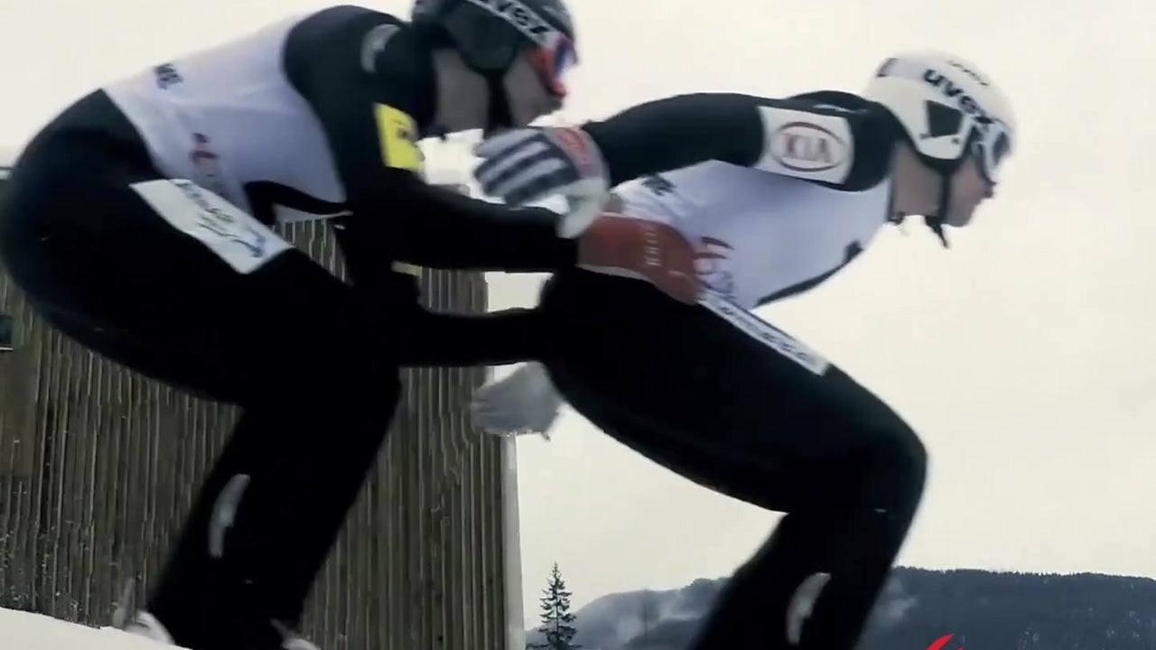 Slovenian duo nail the first ever tandem ski jump