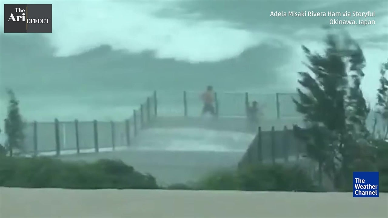 Daredevils hang from seawall during storm
