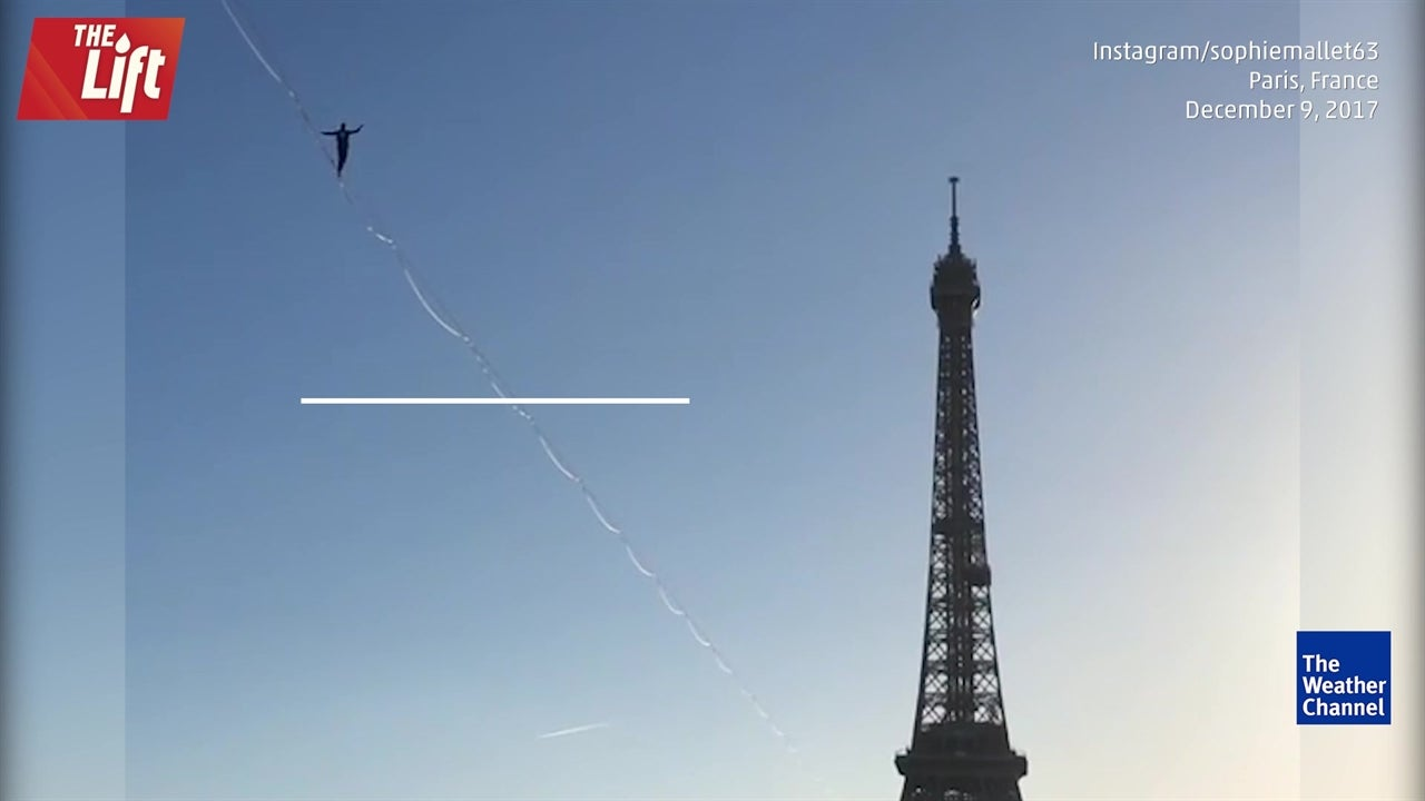 Terrifying tightrope walk to Eiffel Tower