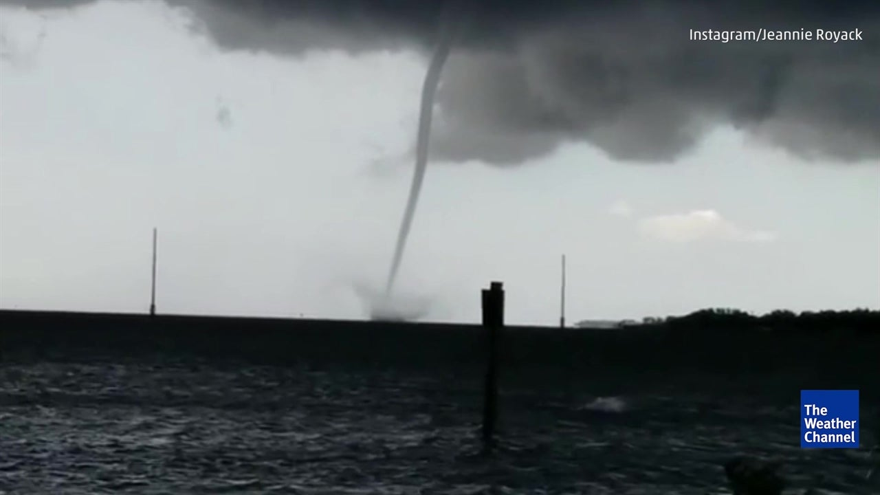 Waterspout forms after storm