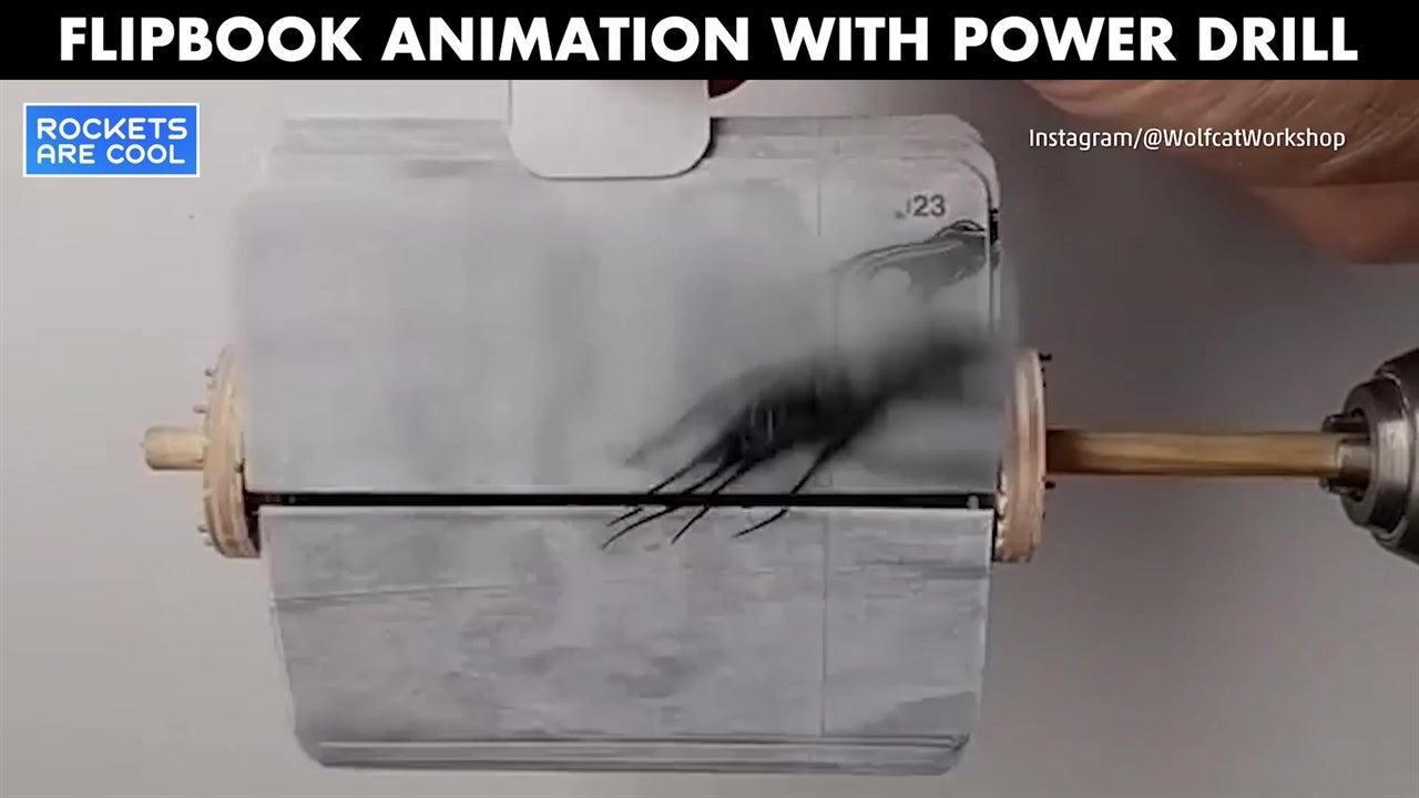 Power drill makes flipbook animation