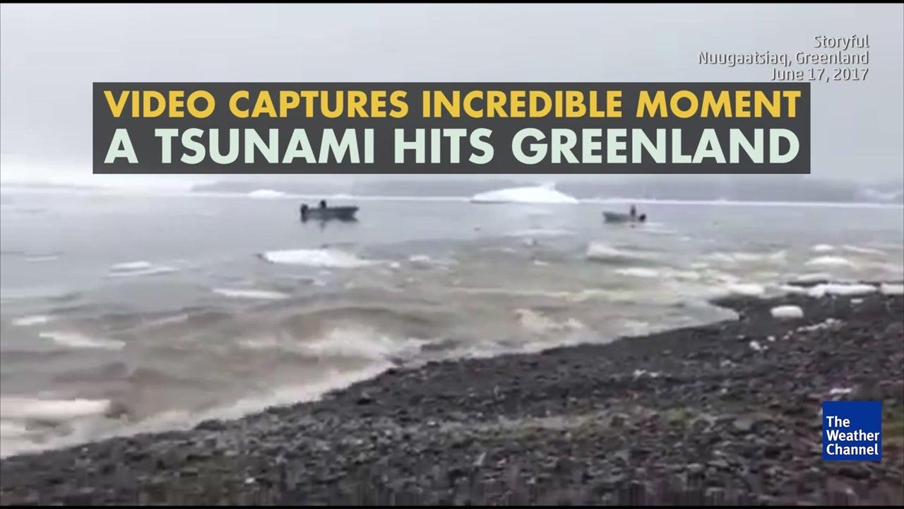 Watch: The moment tsunami hits Greenland