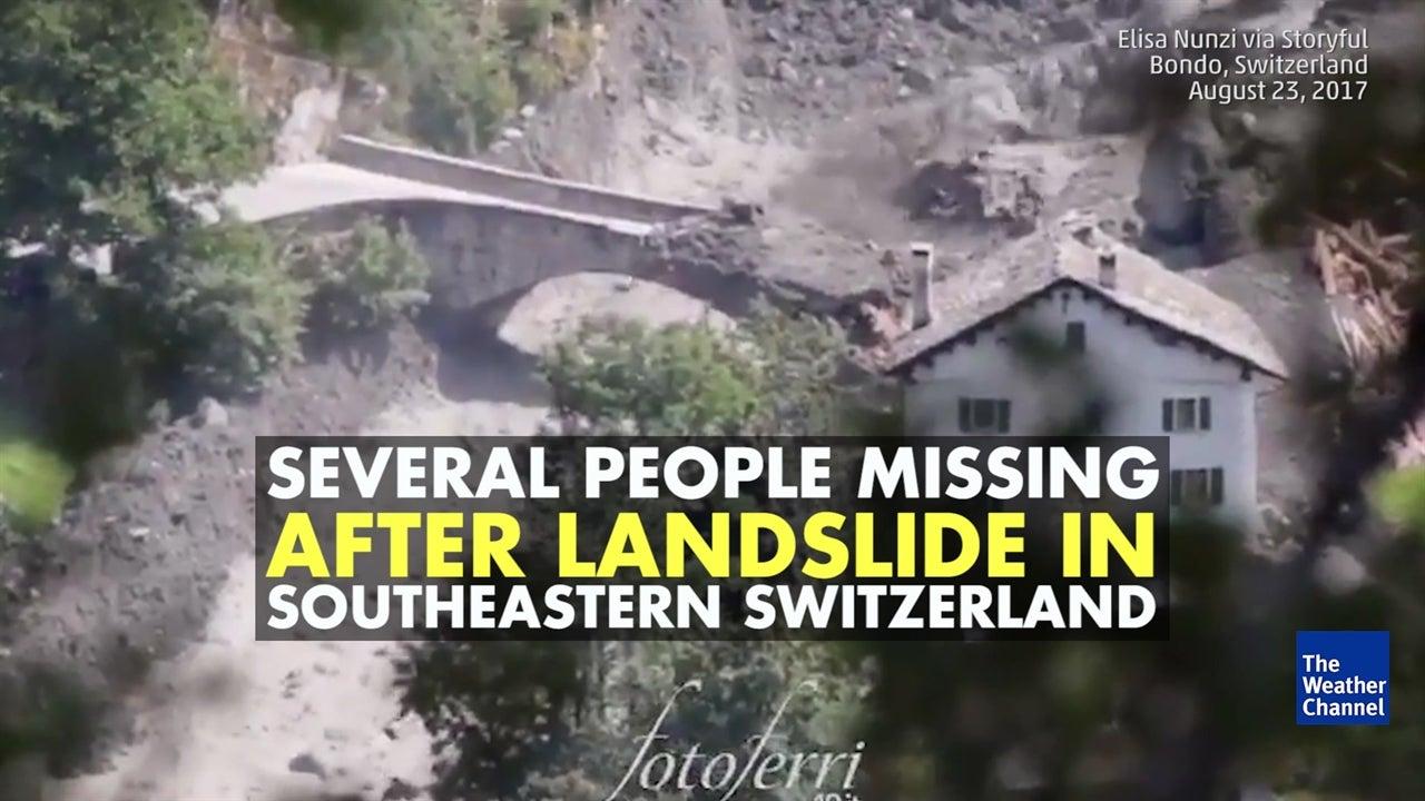 Massive landslide hits southeast Switzerland