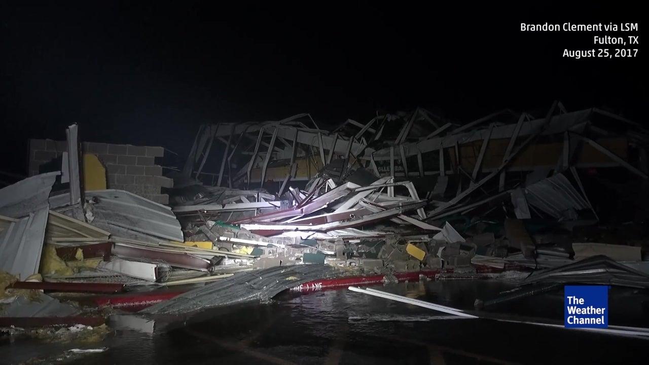 Heavy hurricane Harvey damage at high school
