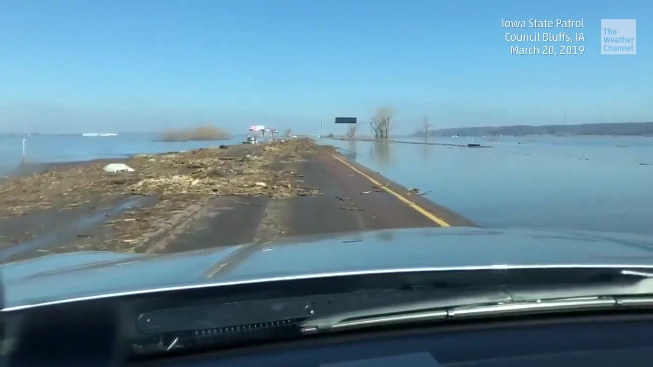 Highway Becomes 'Island' in Flooding