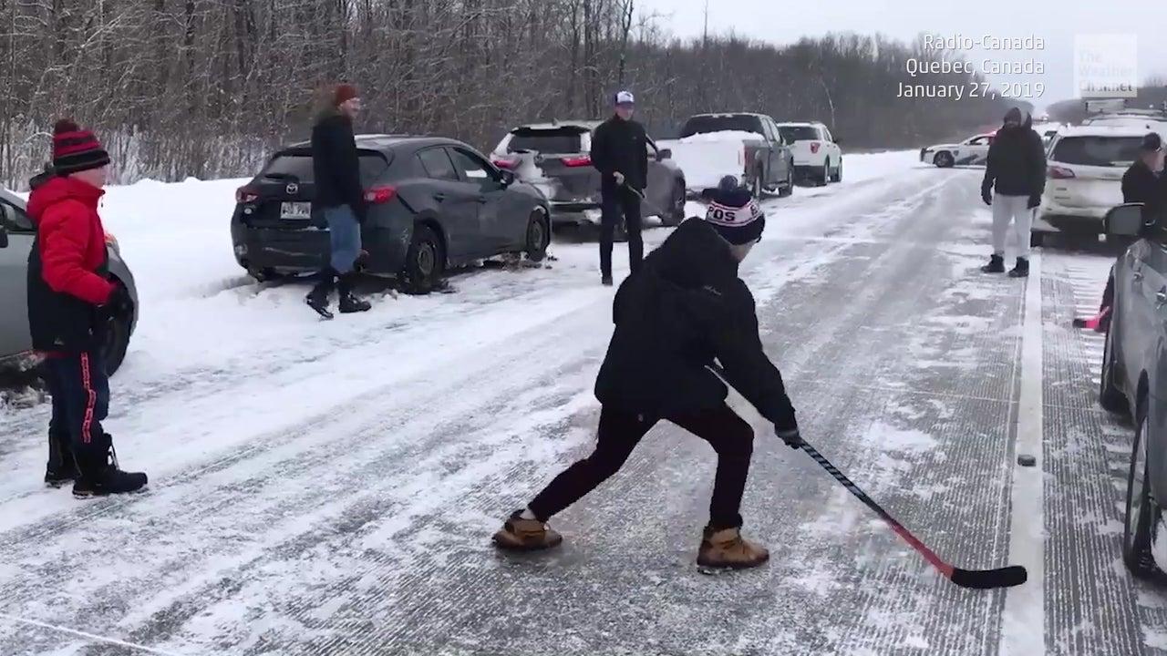 Sportlicher Zeitvertreib: So vertreiben  Kanadier Langeweile im Stau
