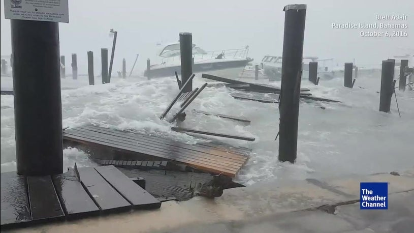 Dock Being Destroyed in Bahamas