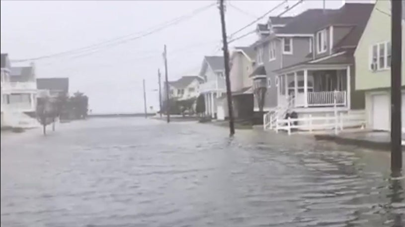 Flooded Streets as Stella Storm Surge Moves Through NJ