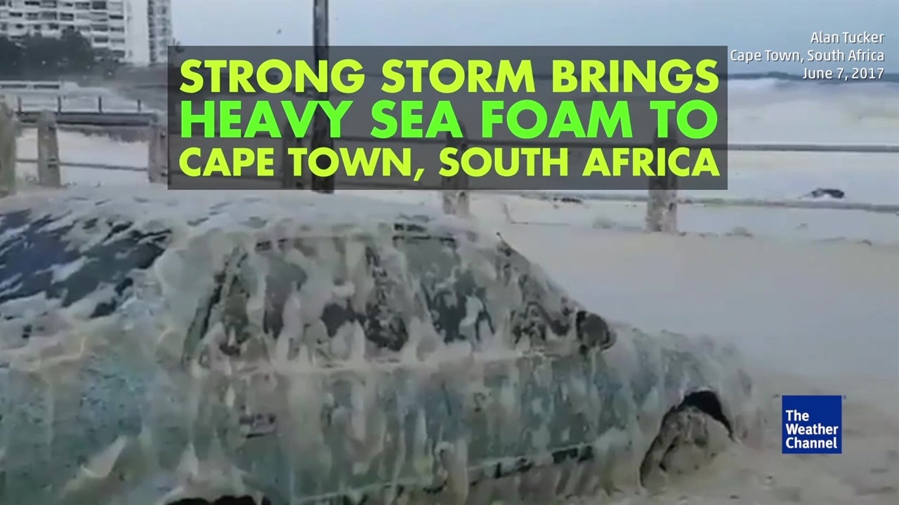 Powerful storm brings sea foam to South Africa