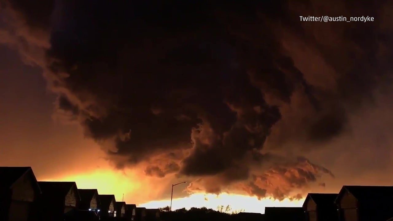 Watch: Colour blast from convulsing storm clouds