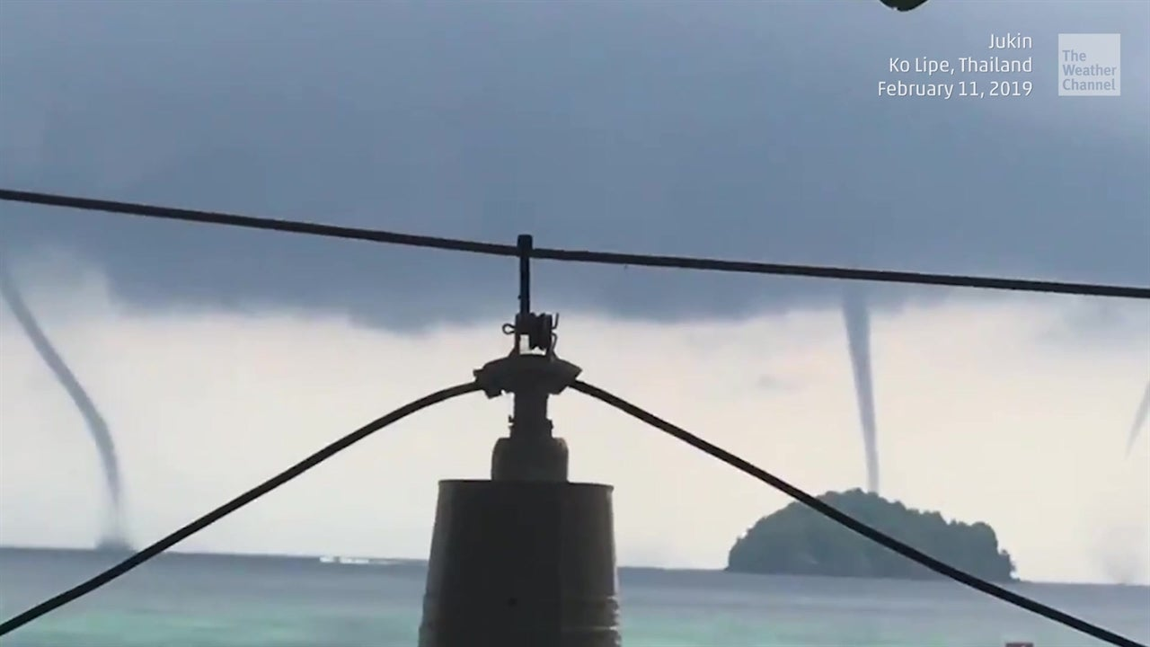 A tornado over water in Thailand