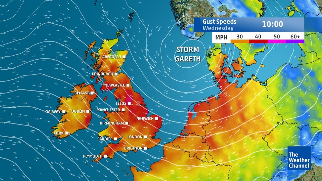 Storm Gareth update:  Strongest winds moving away from UK
