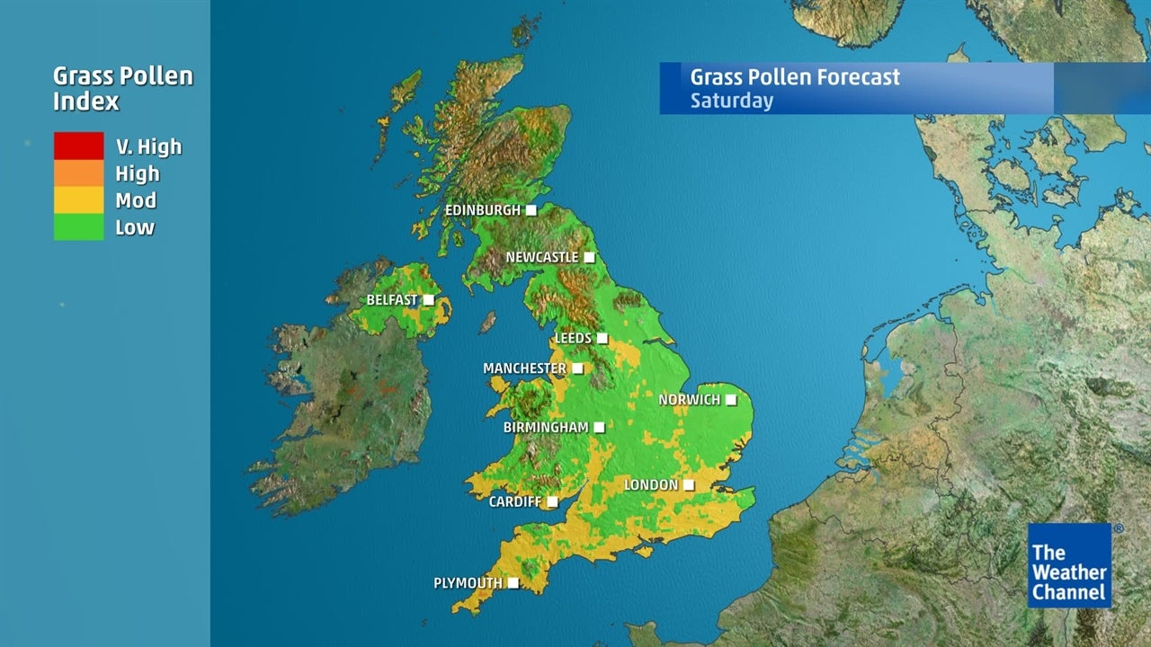 See the areas most likely to be badly-hit by grass pollen levels