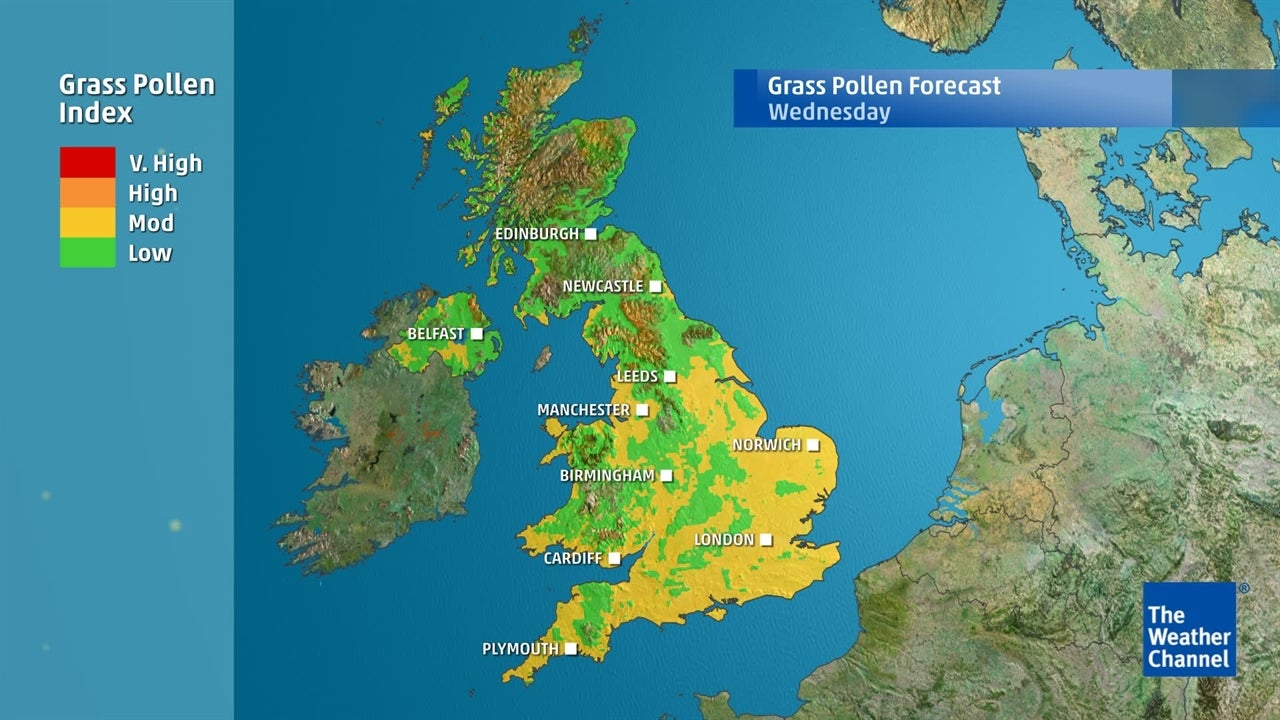 See where grass pollen levels will be highest this weekend?