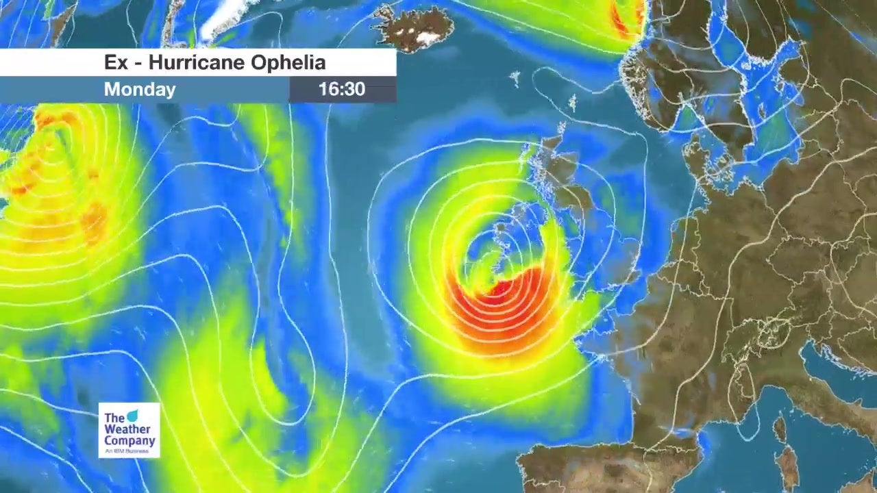 Hurricane Ophelia's strong winds to head to Britain
