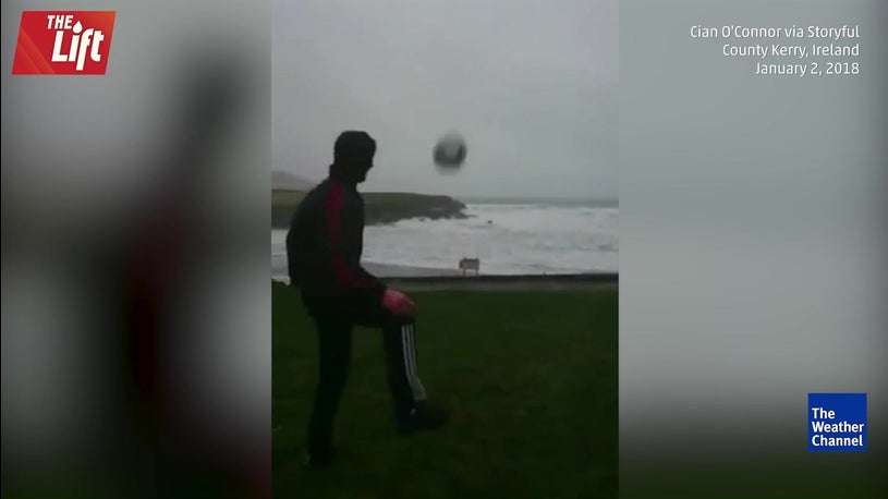 Strong wind blows ball back to shore in Ireland