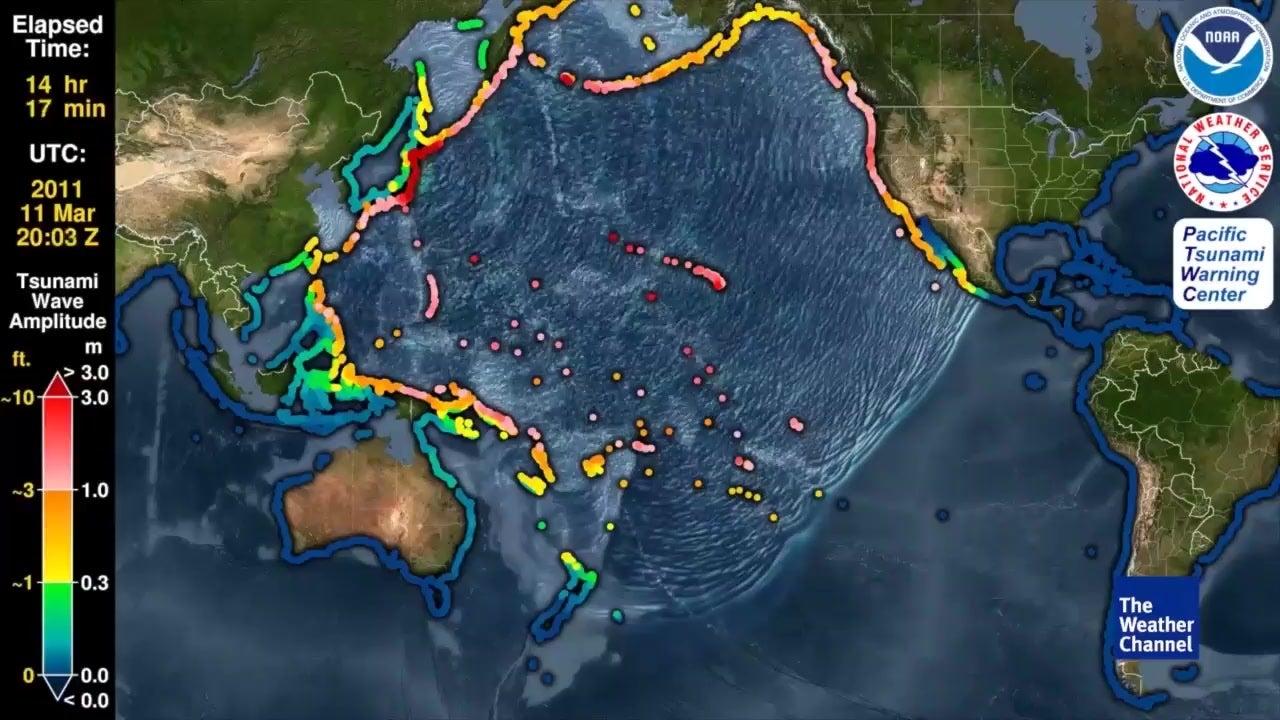 Map Shows Path of 2011 Japan Tsunami