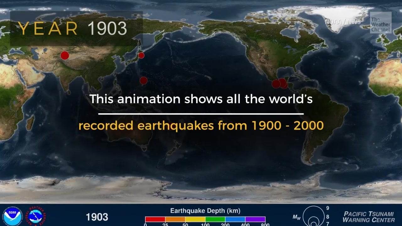 All World's Earthquakes from 1900 - 2000