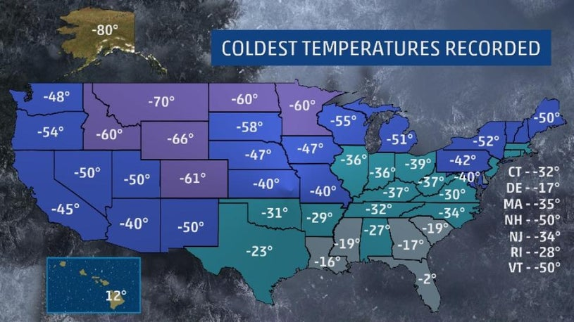 What's the Coldest Temp in Your State?