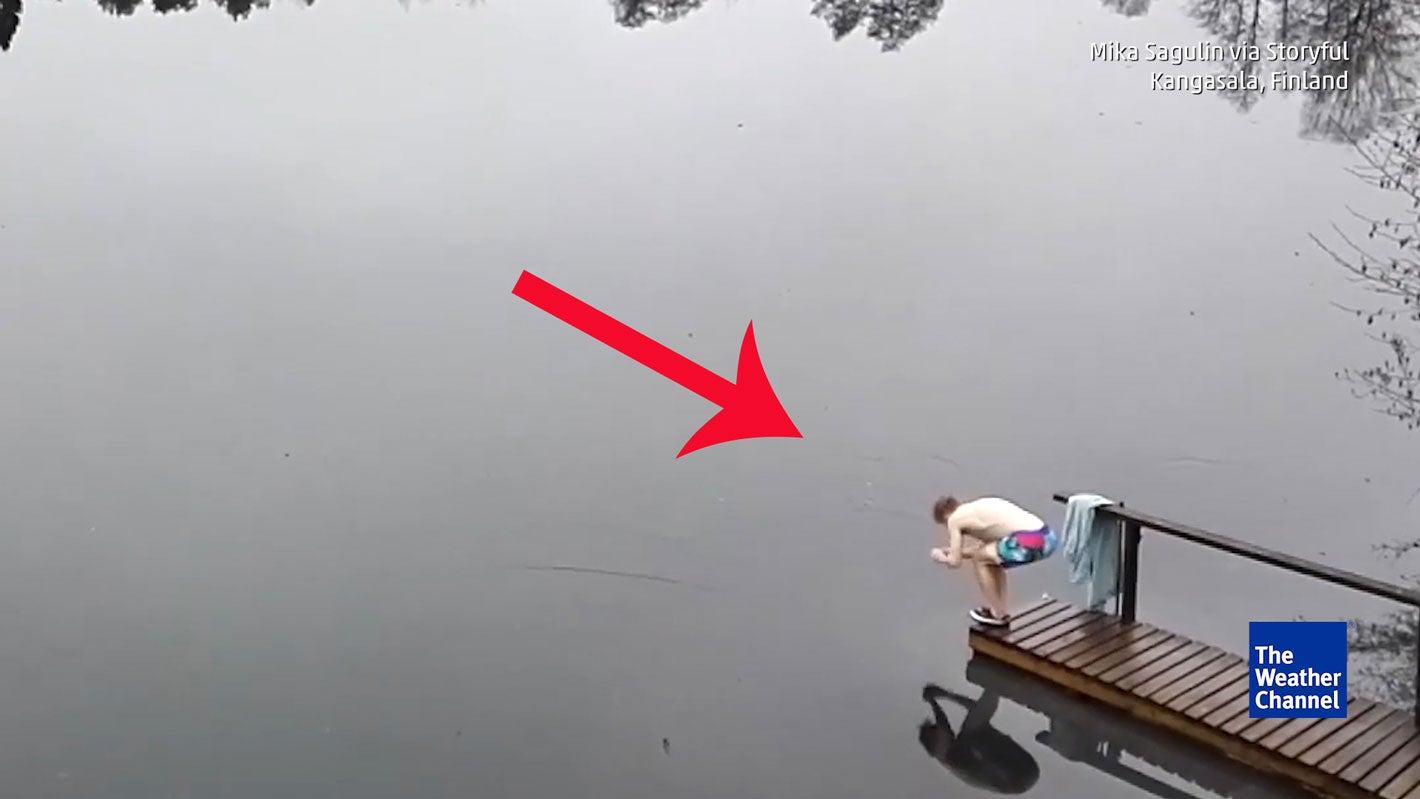 Will er schwimmen? Nein! Ein Detail verrät ihn