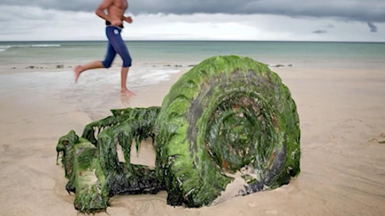 Wrack eines Rovers am Strand gefunden