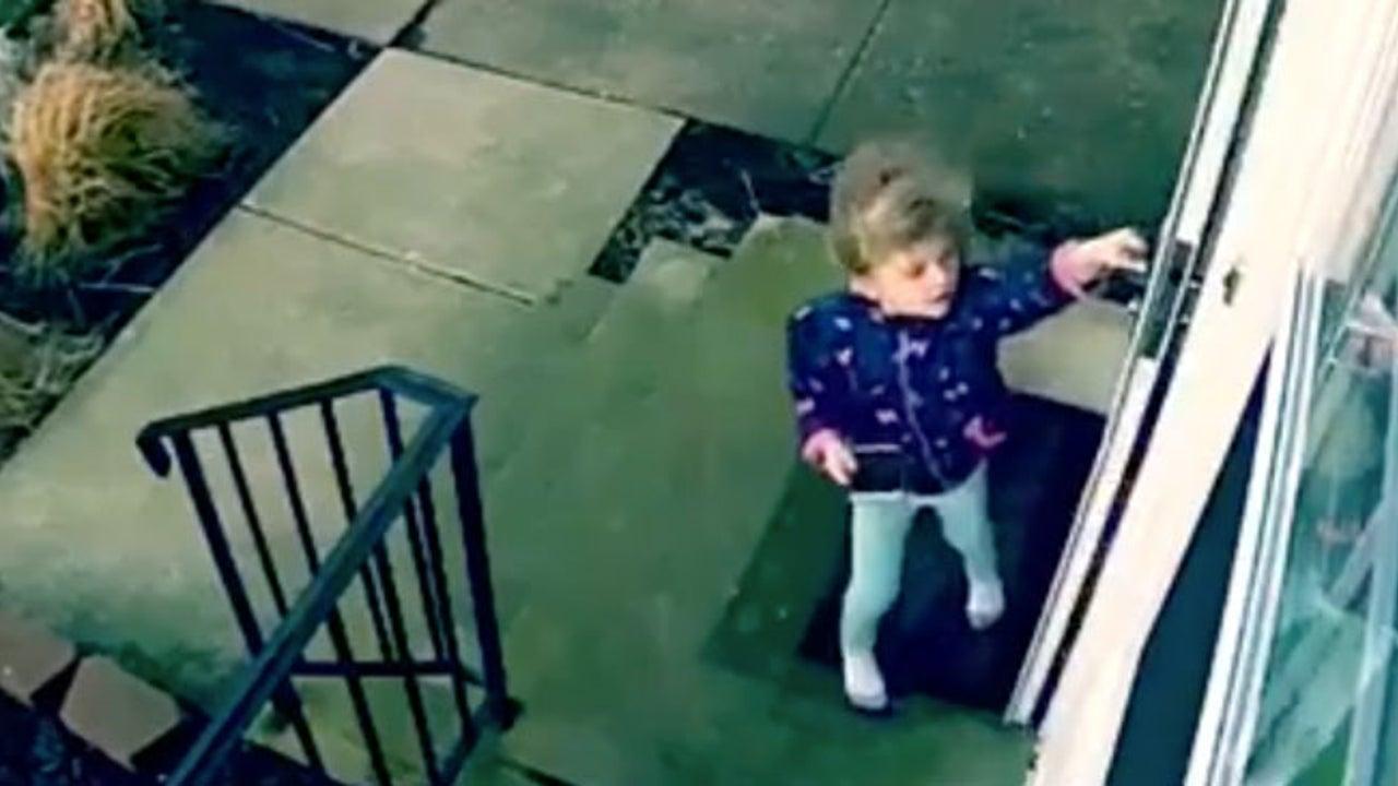 Wind weht Kind durch die Luft - Mutter filmt