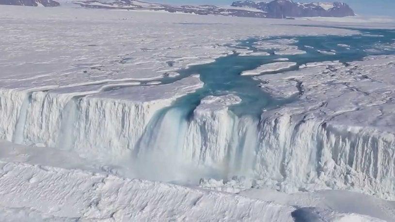 Watch Stunning Antarctic Waterfall