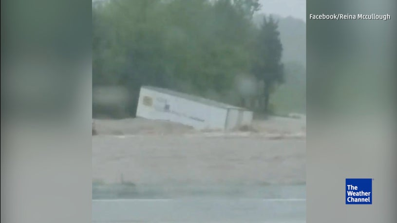 Trailer Swept Away in Flood at Gainesville, MO