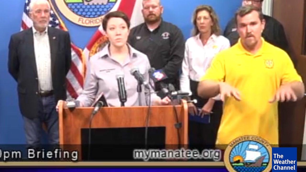 """Hurrikan-Briefing: Mann warnt vor """"Pizza"""" und """"Bärenmonster"""""""