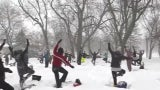 Practicing Yoga in a Snowstorm