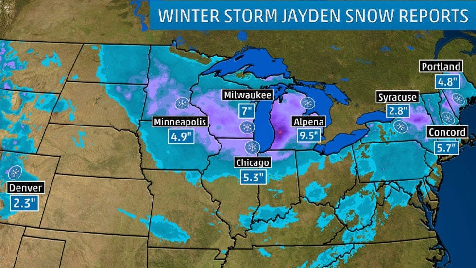 Winter Storm Jayden Spread Snow From Northern Plains to