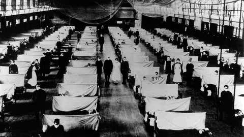 Warehouses were converted to keep the infected people quarantined during the 1918 Influenza pandemic. (Universal History Archive/UIG via Getty Images)
