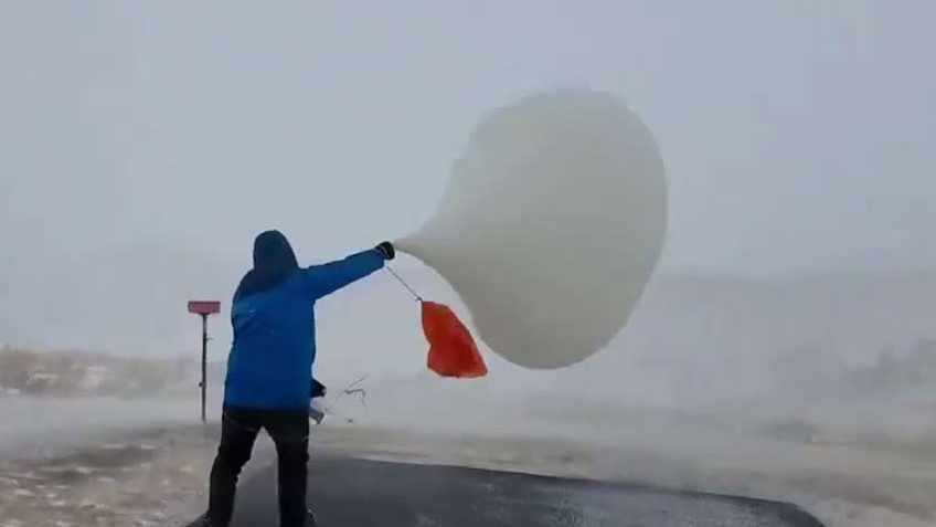 Tough to Launch a Weather Balloon in 63-mph Winds
